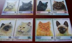 Экзотика! Тувалу. 8 чистых марок. Кошки. Полная серия. Отличный сохран