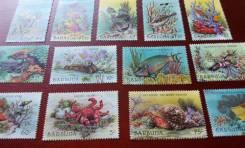 Экзотика! Барбуда! Редкость! 13 чистых марок 1987 г. Морские обитатели