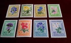 Монголия. 8 чистых марок 1960 г. Цветы. Полная серия. Отличный сохран!
