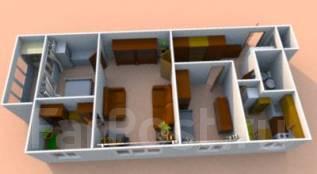 4-комнатная, проспект 100-летия Владивостока 145. Вторая речка, агентство, 68кв.м. План квартиры