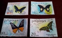 Филиппины. Нечастая полная серия из 4 чистых марок 1969 г. Бабочки. Пр