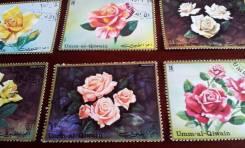Умм-эль-Кайвайн. Нечастые 6 марок 1971 года. Розы. Полная серия.