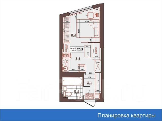 1-комнатная, улица Леонова 70. Эгершельд, застройщик, 24кв.м. План квартиры