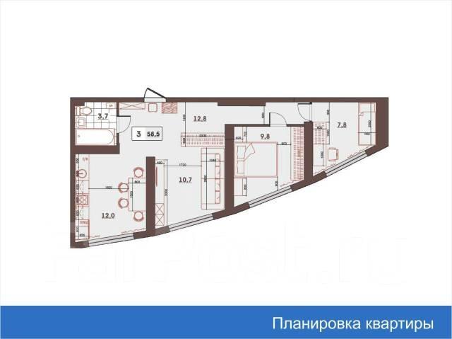 3-комнатная, улица Леонова 70. Эгершельд, застройщик, 59кв.м. План квартиры