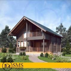 Проект загородного дома из клееного бруса. 100-200 кв. м., 2 этажа, 3 комнаты, дерево