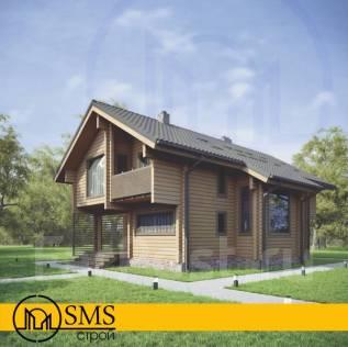Свежий проект дачного дома. 100-200 кв. м., 2 этажа, 3 комнаты, дерево