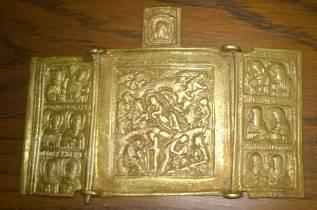 Икона походная складень. Рождество Христово. 19 век. Медная пластика. Оригинал. Под заказ
