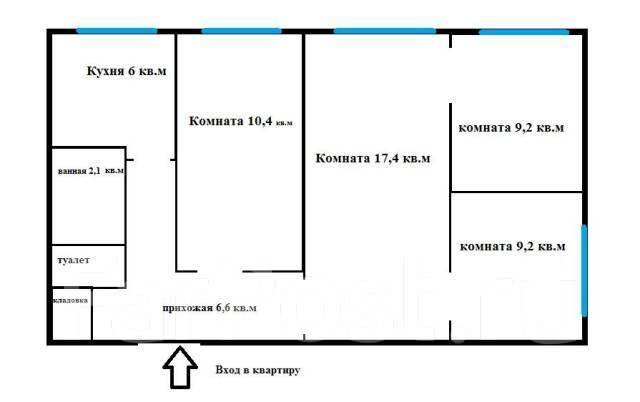 4-комнатная, березовая. агентство, 61кв.м. План квартиры