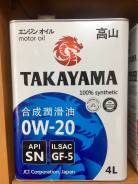 Takayama. Вязкость 0W-20, синтетическое