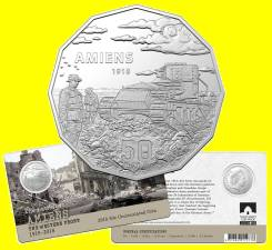 * Австралия 50 центов 2018 Amiens * Western Front * Война WWI * Танк