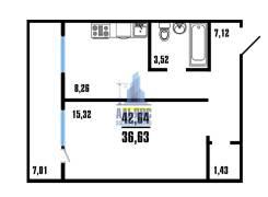 1-комнатная, улица Адмирала Горшкова 38 стр. 1. Снеговая падь, агентство, 43кв.м. План квартиры