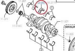Полукольца коленвала. Mazda: Mazda6 MPS, Axela, Mazda3, Mazda6, MPV, Mazda5, CX-7, Atenza, Xedos 6, 626, MX-5, Xedos 9, MX-3, 323F, 929 Двигатель L3VD...