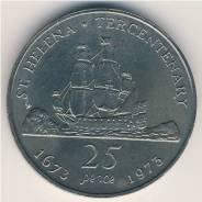 Экзотика! Остров Святой Елены. Огромные 25 пенсов 1973 г. 300-летие ос