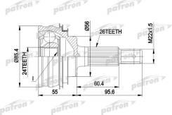 Шарнирный комплект, приводной вал PATRON PCV1070