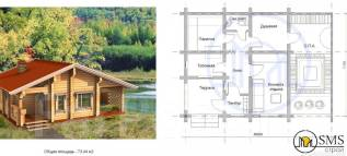 Проект бани. до 100 кв. м., 1 этаж, дерево