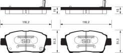 Колодки дисковые передние Toyota Corolla 1.6/1.8 01>/Prius 1.5 Electric 04> Солано Geely MK BYD F3 аналог SP1244 LIFAN SB35001