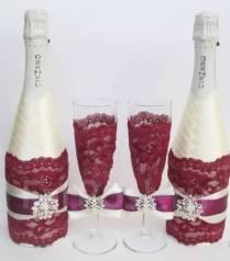 Декор свадебных бокалов, шампанского и букета