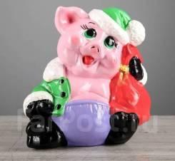 "Копилка ""Свинка Дед Мороз"", размер 20 см x 11 см x 20 см, символ 2019"