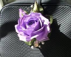 Брошь ручной работы сиреневая роза из фоамирана