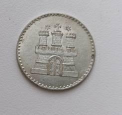 Гамбург (Германия) 1 шиллинг 1855г Серебро aUNC