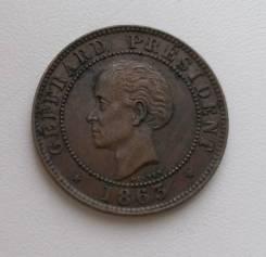 Гаити 10 сантимов 1863г AU Редкая. Супер