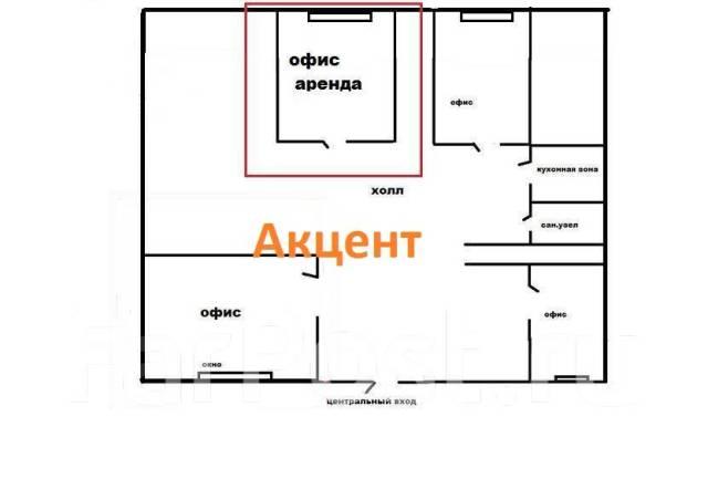 Сдается офис в Центре!. 18кв.м., улица Светланская 63, р-н Центр. План помещения