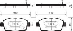 Колодки дисковые передние Toyota Corolla 1.6/1.8 01>/Prius 1.5 Electric 04> аналог SP1232 SANGSHIN SP1244