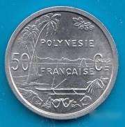 Новая Редчайшая монетка 50 сантим Французской Полинезии + 1 франк