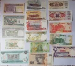 """Лот иностранных банкнот в состоянии """"Пресс"""", 49 штук, Б006"""