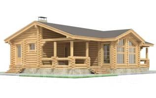 Проект Дома из бревна. АР-14-03. 100-200 кв. м., 1 этаж, 4 комнаты, дерево
