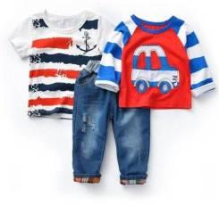 Комплект для мальчика (лонгслив + футболка+ джинсы). Рост: 86-92, 92-98, 98-104, 104-110, 110-116, 116-122, 122-128, 128-134, 134-140 см