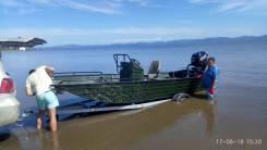 Алюминиевая лодка под мотор джонбот плоскодонка. Для отдыха, рыбалки. 2018 год год, длина 5,20м., двигатель без двигателя, бензин