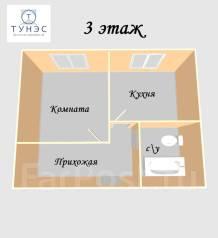 1-комнатная, улица Нейбута 13. 64, 71 микрорайоны, проверенное агентство, 28кв.м. План квартиры