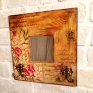 Ключница зеркало, подарок из дерева.