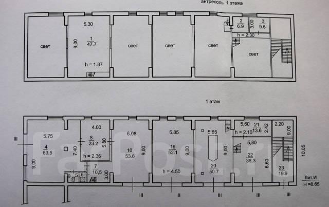 Продаю комплекс зданий Sоб=1000 кв. м. на земельном участке 1107,3 кв. Улица Бородинская 20, р-н Вторая речка, 1 000кв.м. План помещения