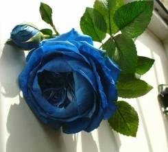 Синяя пионовидная роза ручной работы из фоамирана