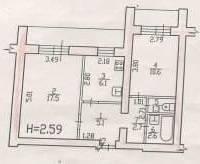 2-комнатная, улица Карла Маркса 143д. Железнодорожный, агентство, 46кв.м.