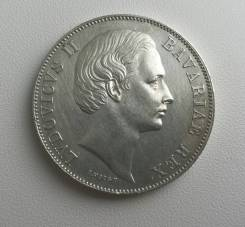 Бавария (Германия) 1 талер 1866г AU Супер сохран!