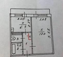 1-комнатная, улица Рабочая 2-я 8. Угловое-поворот, частное лицо, 32кв.м. План квартиры