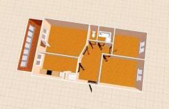 3-комнатная, ул. Орджоникидзе. ул. Комарова, агентство, 59кв.м. План квартиры