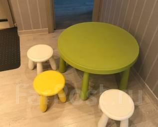 Столы и стулья.
