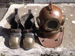 Водолазный шлем СССР и боты 1968 г идеал в интерьер. Оригинал