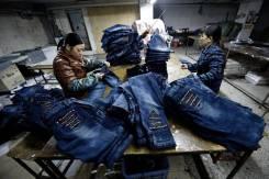 Работа в Южной Корее. Джинсовый завод. Мужчины и женщины.