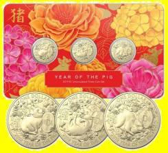 Австралия набор 3 монеты по 1 доллар 2019 Год Свиньи. Свинья