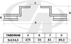 Диск тормозной. Toyota RAV4, ACA20, ACA20W, ACA21, ACA21W, ACA22, ACA23, ACA26, ACA28, ZCA25, ZCA25W, ZCA26, ZCA26W