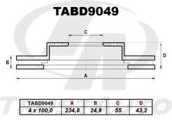 Диск тормозной. Toyota Probox, NCP50, NCP50V, NCP51, NCP51V, NCP52, NCP52V, NCP55, NCP55V, NCP58, NCP58G, NCP59, NCP59G, NLP51, NLP51V