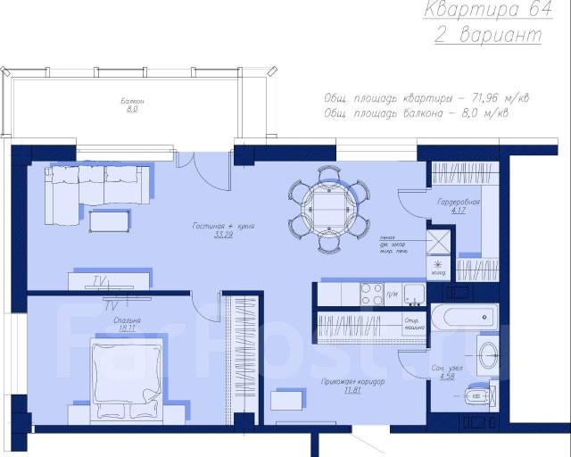 3-комнатная, улица Севастопольская 33/1 стр. 1. агентство, 76кв.м.