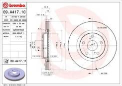 Тормозной передний! с покрытием toyota rav4 2.0/2.2d 06 Brembo арт. 09A41711 09.a417.11_диск Brembo 09A41711