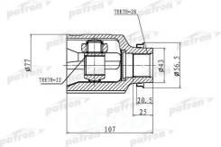Шрус Внутренний Правый 22x43x28 Kia Shuma,Ii/Sephia,Ii/Mentor,Ii/Spectra 97-04 PATRON арт. PCV1172