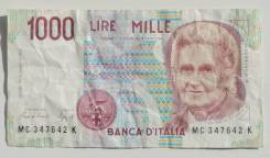 Италия. 1000 лир 1990 года. Мария Монтессори